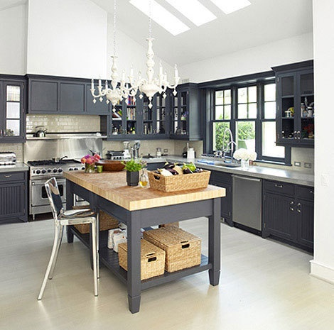 Flickr gray kitchen Charcoal  Beautifully Colorful Painted Kitchen Cabinets