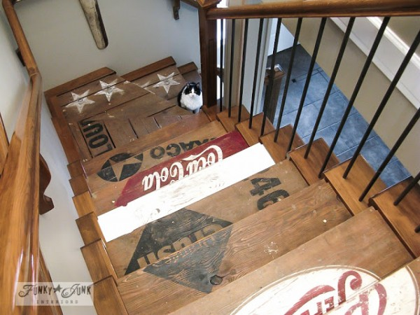 Funky Junk Interiors painted wood crate stairs