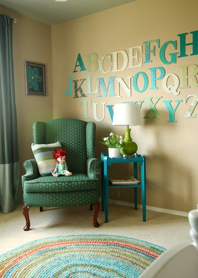 Girls Bedroom with stenciled wall and crown cornice canopy bed blue and green (3)