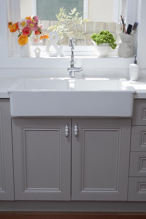 Gray Blue Painted Kitchen Cabinets