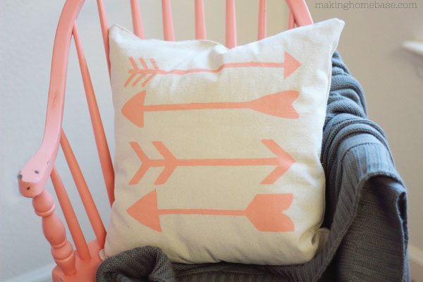Making Home Base stenciled arrow pillow