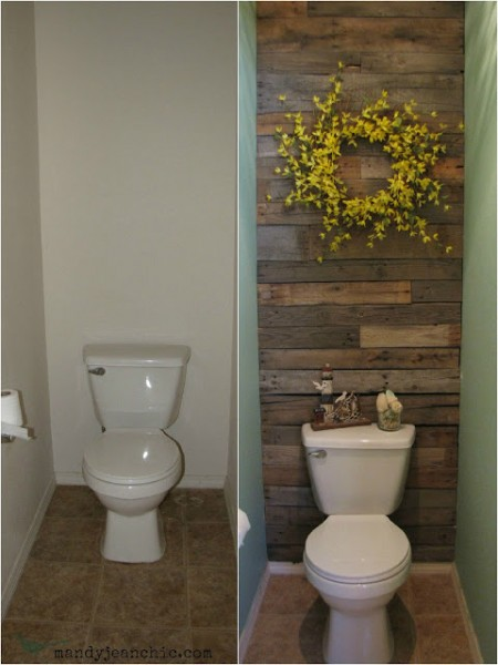 Remodelaholic diy pallet wood wall for a bathroom for Wood bathroom wall decor