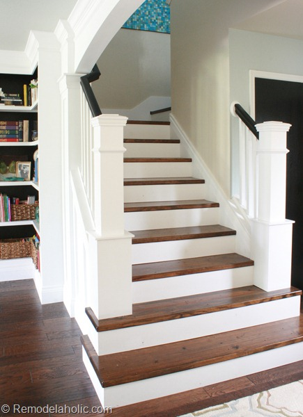 25 lovely entries and staircase remodels diy for Diy staircase makeover