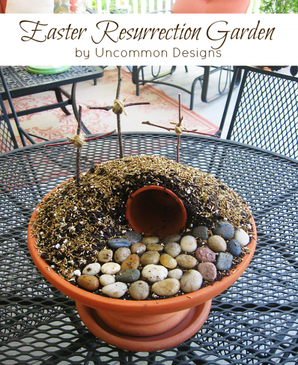 Uncommon Designs resurrection garden, Easter Activities for kids via Remodelaholic