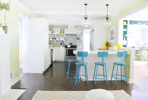 Young House Love blue kitchen stools