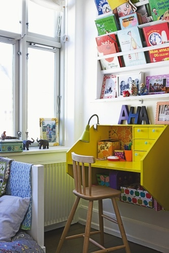 kids desk station, great color love the book display!