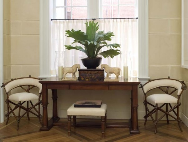 Window Console Table ~ Ways to decorate a console table diy