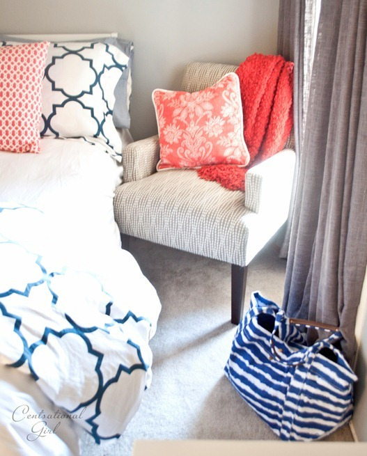 Centsational Girl navy and coral bedroom