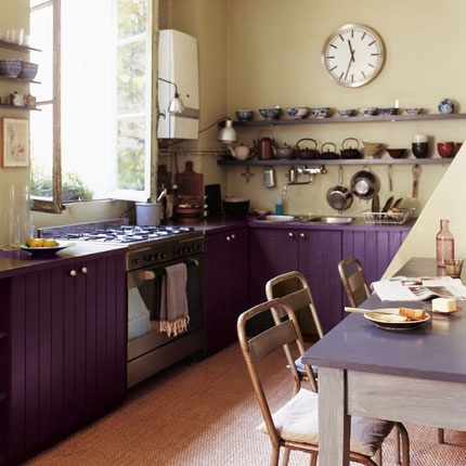 Dark Purple Painted Kitchen Cabinets