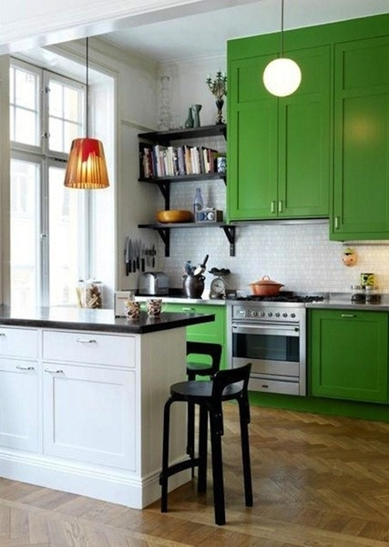 Captivating Green Painted Kitchen Cabinets