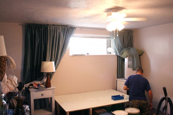Master beadroom progress, before after tufted headboards curtained wall master bedroom (8)