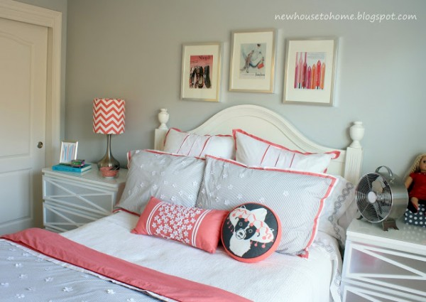 New House to Home coral and gray bedroom