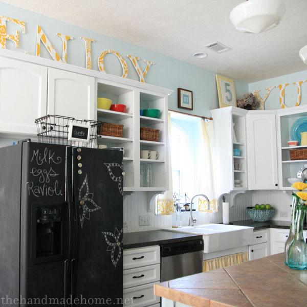 The Handmade Home chalkboard fridge