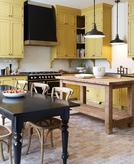 Yellow Kitchen Cabients  House and Home