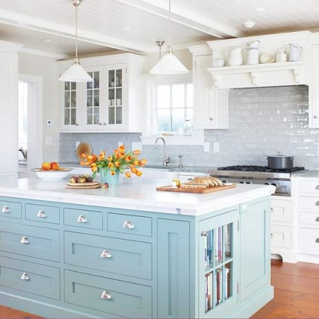 Sky Blue Painted Kitchen Cabinets BHG