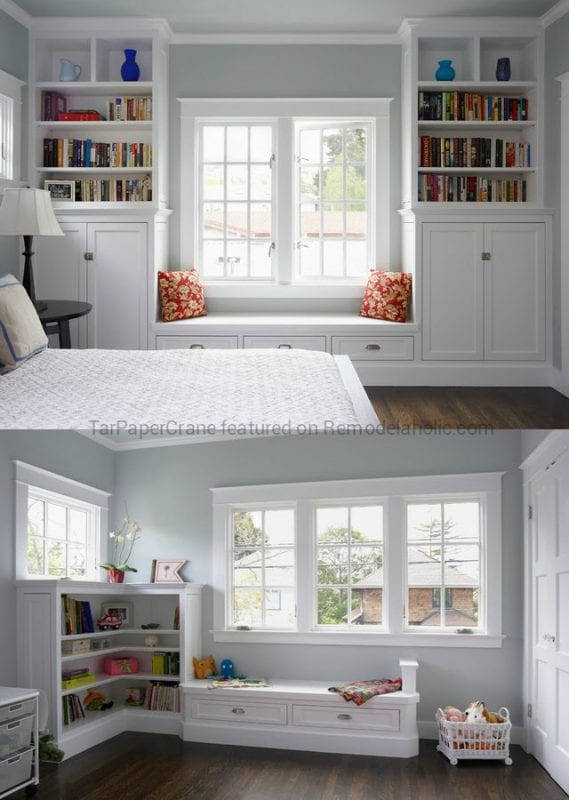 Beautiful craftsman style built-in window seat ideas with shelving around the window, by TarPaperCrane