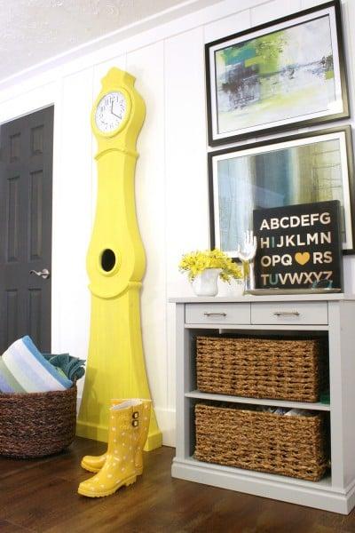 Beautiful Doors, interior door in Sherwin Williams Iron Ore (yellow Swedish Clock is SW Daisy) Remodelaholic.com