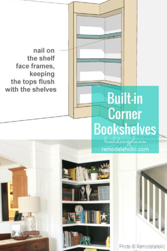 Built In Corner Bookshelves Building Plans And Tutorial By Remodelaholic.com