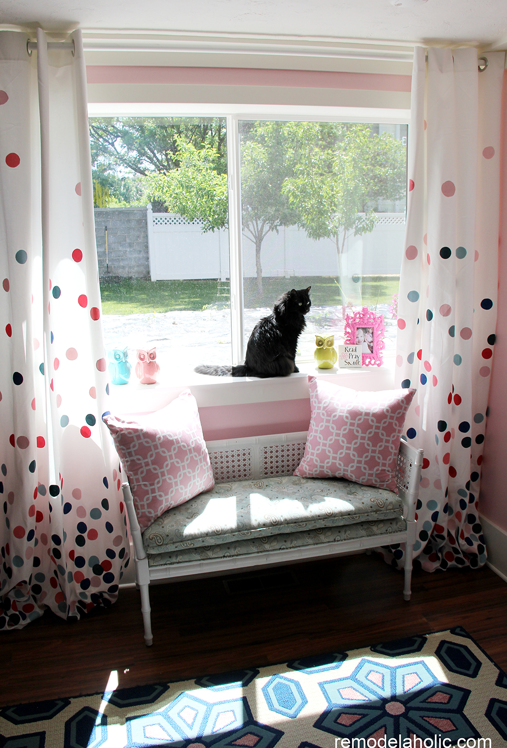 Superior Girls Pink And Navy Bedroom Decorations (14)