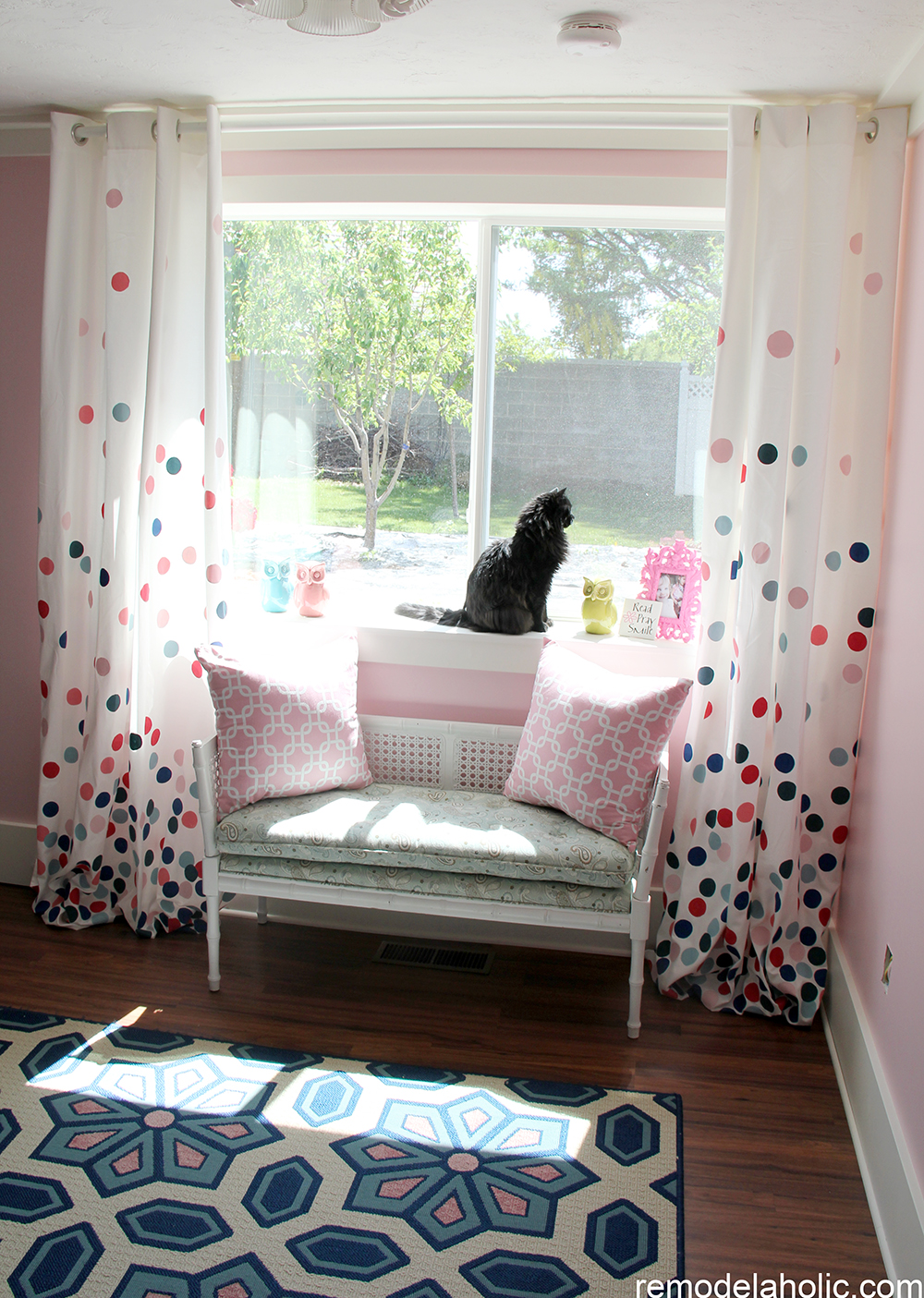 Girls pink and navy bedroom decorations  15. Remodelaholic   Confetti Drapes Tutorial