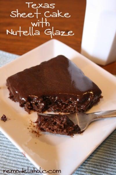Healthier Texas Sheet cake with Nutella glaze recipe Nutella Glaze frosting Recipe