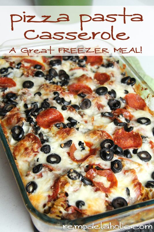 Pizza Pasta Casserole Recipe @remodelaholic #pizza #pasta #casserole #freezer_meal 2