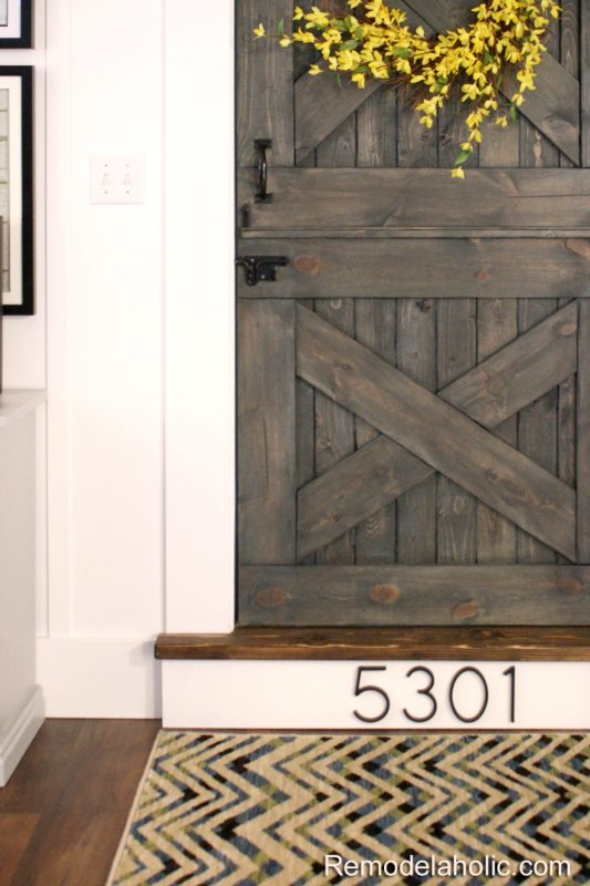 Wood stair with house number remodelaholic copy