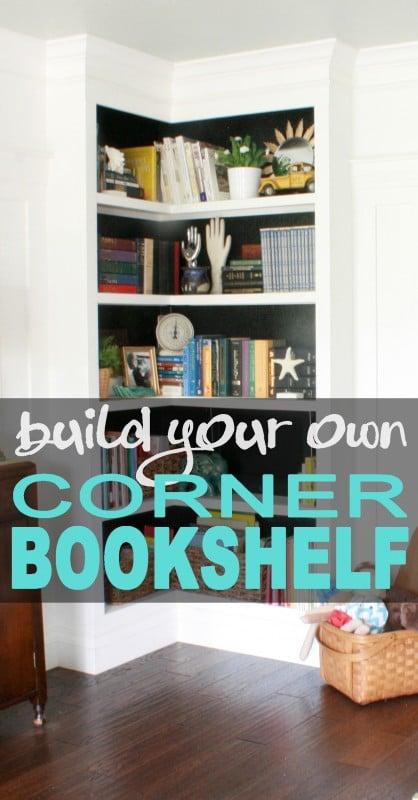 built-in corner bookshelf diy