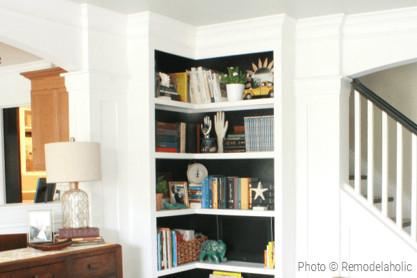 Built In Corner Bookshelf Tutorial And Building Plans From Remodelaholic