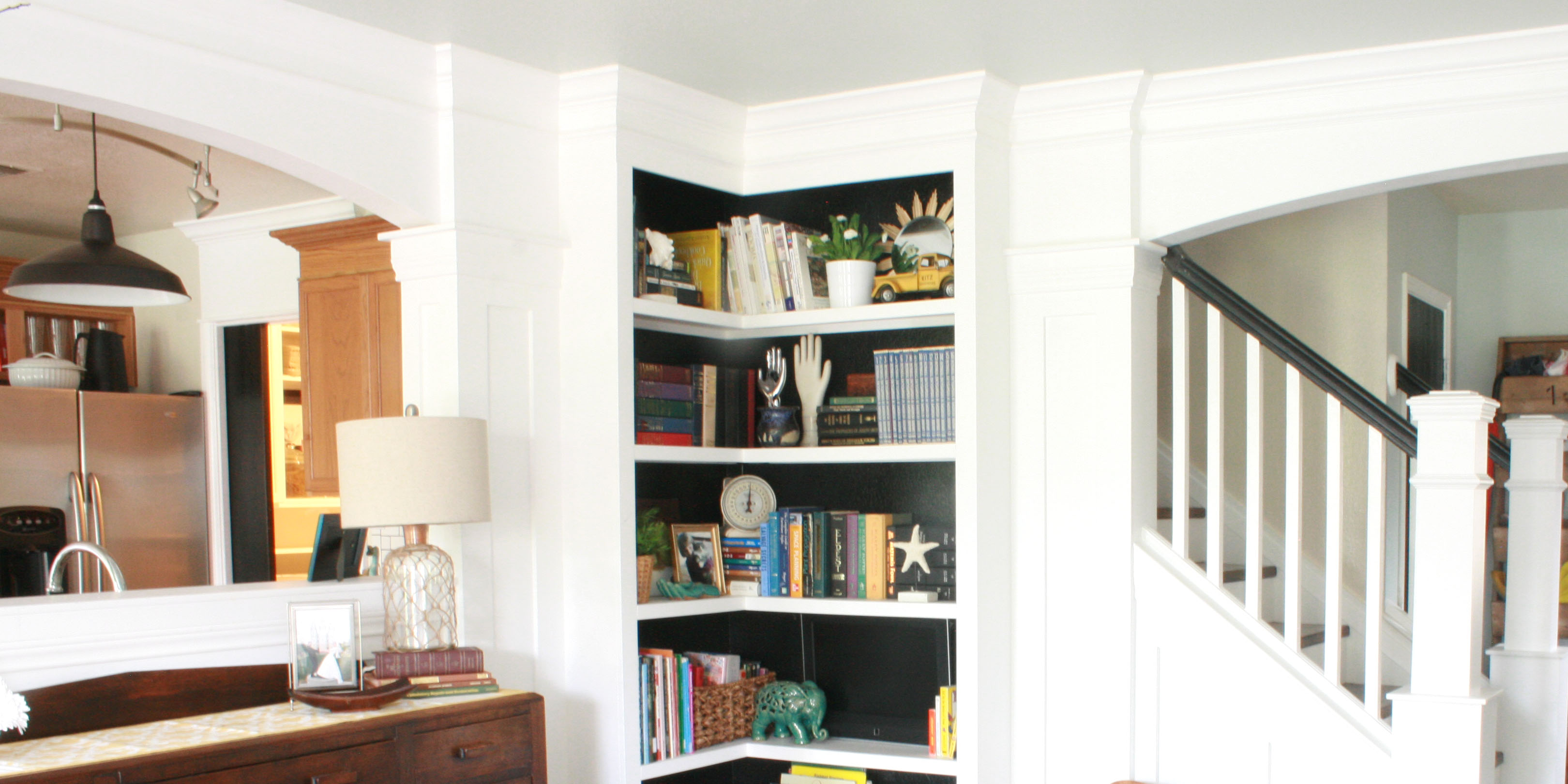your build corner built living room own bookshelves livings bookshelf in shelving builtin