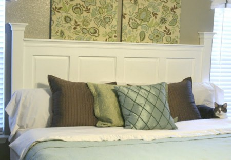 diy cabinet door headboard at remodelaholic.com