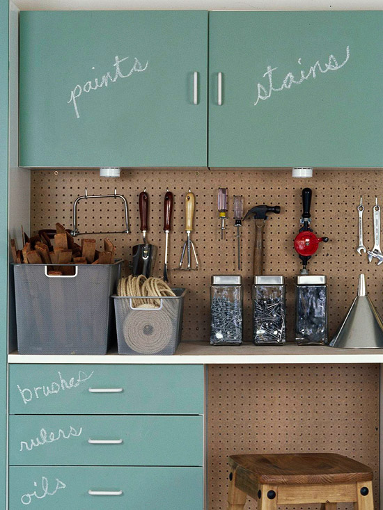 Top ten pretty and organized garages and sheds remodelaholic for Better homes and gardens painting kitchen cabinets