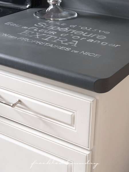 chalkboard paint kitchen counter, Freckled Laundry