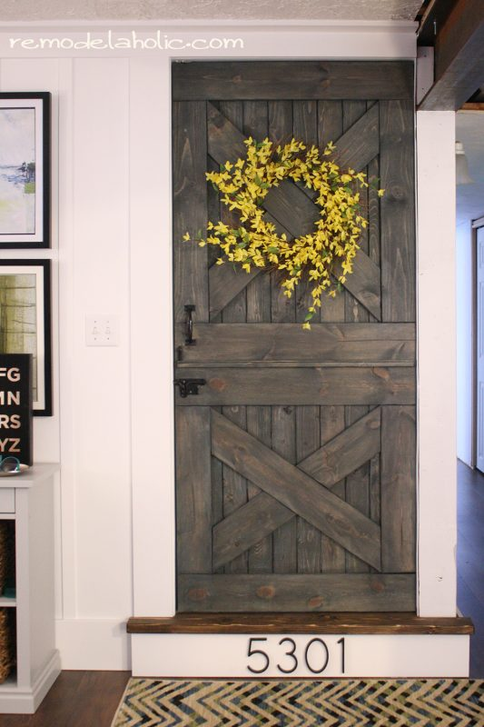 color washing paint technique, wood grain still shows, barn door remodelaholic(15)