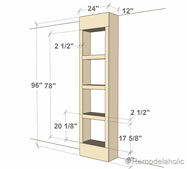 Here are the overall dimensions of our built in bookshelves