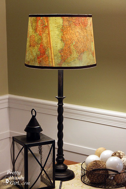 diy vintage map lamp shade