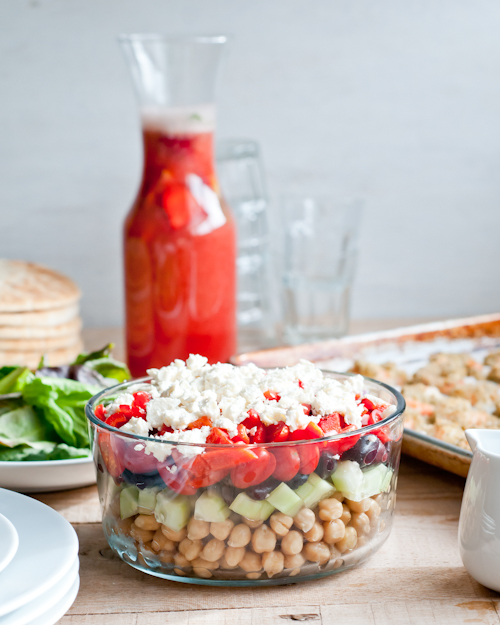 layered greek chickpea salad