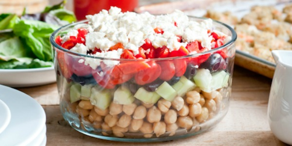 healthy summer recipes - layered greek chickpea salad