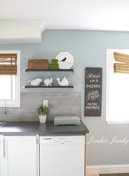 weathered wood planked kitchen backsplash, Junkin Junky