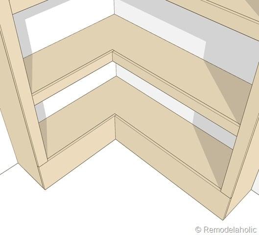 Plans for built-in corner bookshelf Step 10 close-up