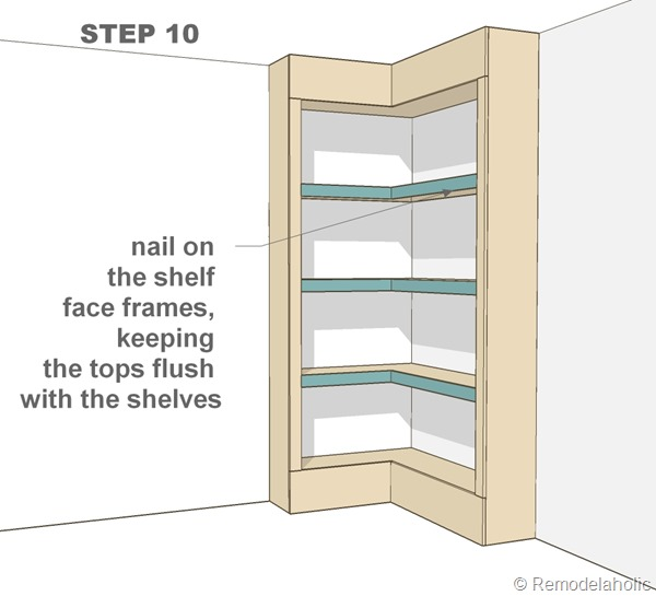 Plans for built-in corner bookshelf Step 10