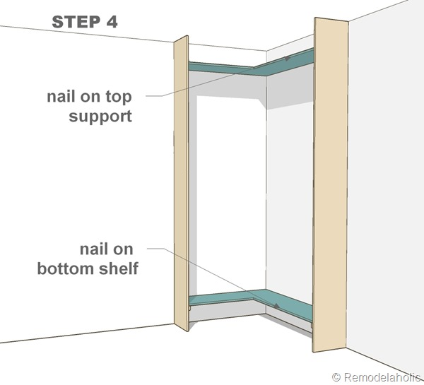 step 4 - corner bult-in bookshelves