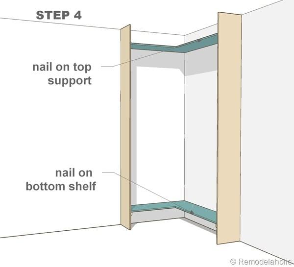 step 4 - corner built-in bookshelves