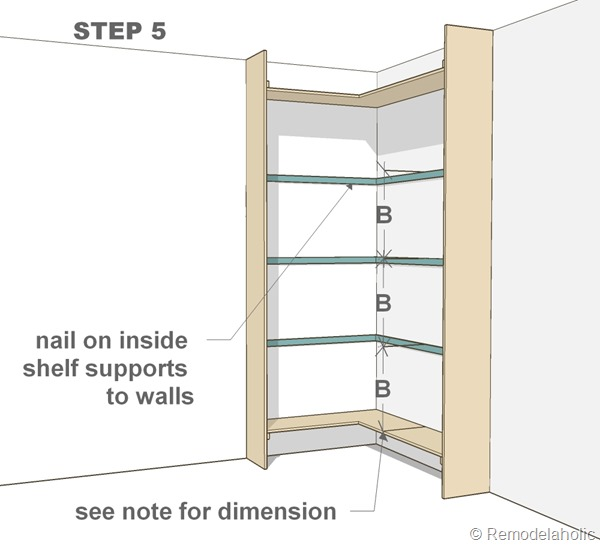 step 5 - corner bult-in bookshelves