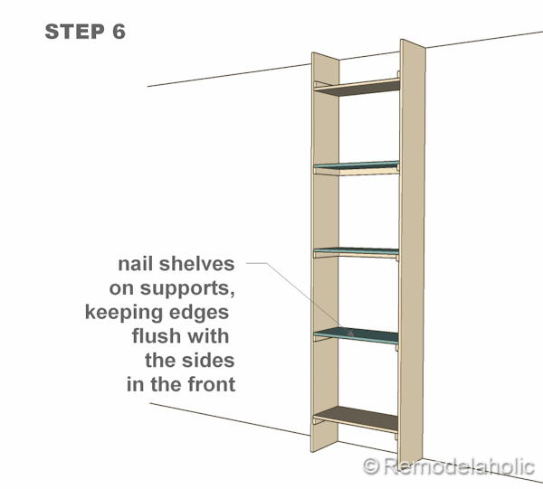 step 6 bult-in bookshelves