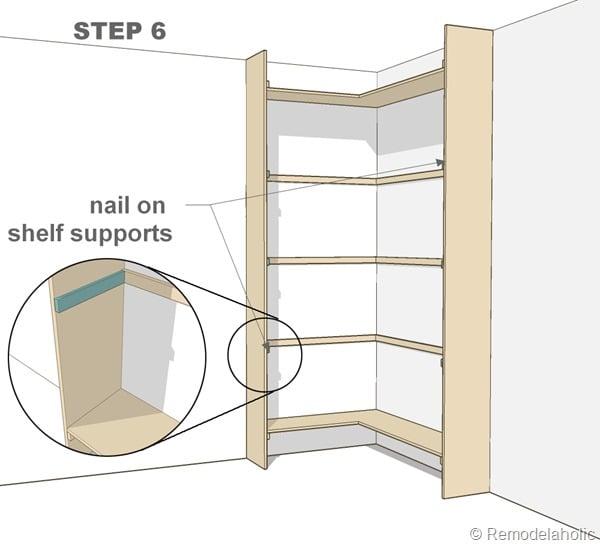 Plans for built-in corner bookshelf Step 6