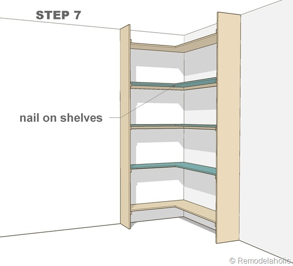 step 7 - corner bult-in bookshelves