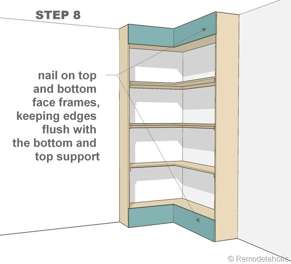 step 8 - corner bult-in bookshelves