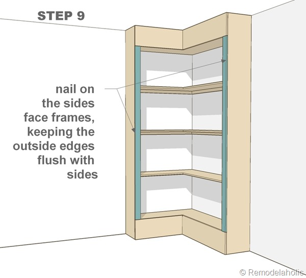 step 9 - corner bult-in bookshelves
