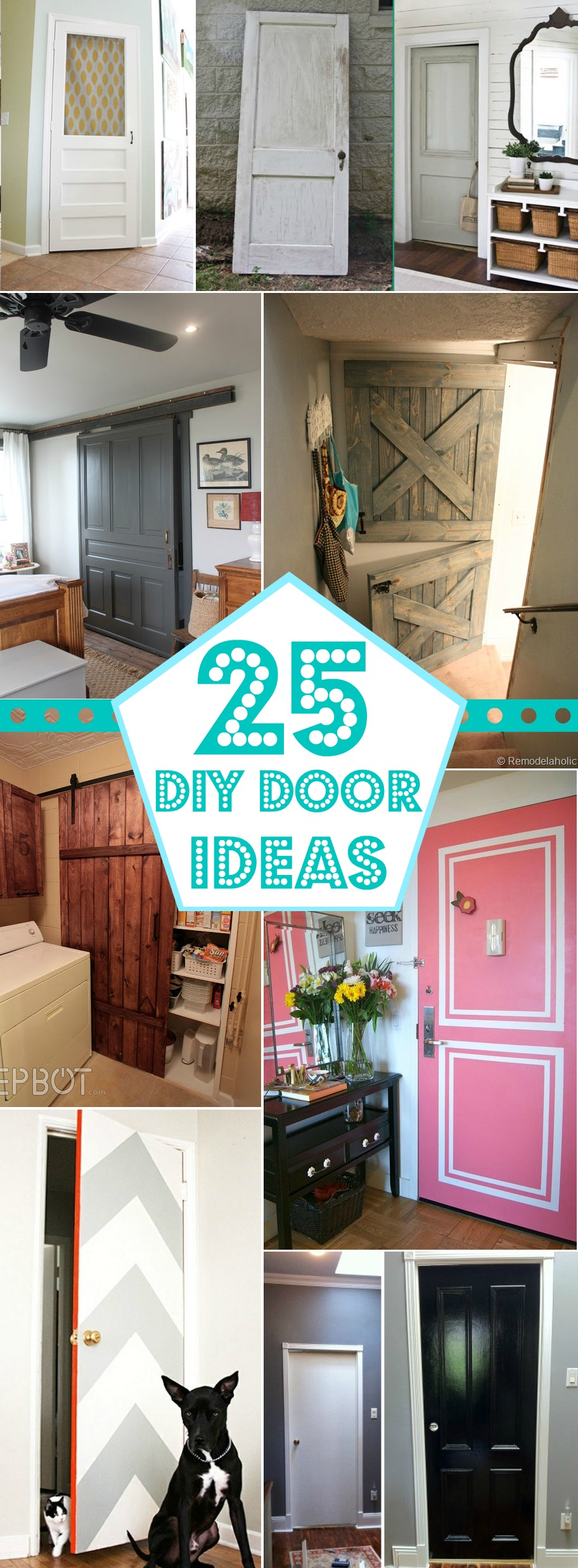 25 DIY Door Ideas @Remodelaholic #christmas